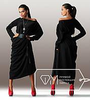 Длинное трикотажное однотонное платье