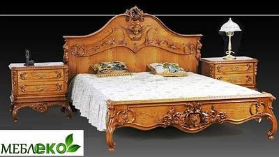 """Кровать резная из натурального дуба """"Королева""""."""