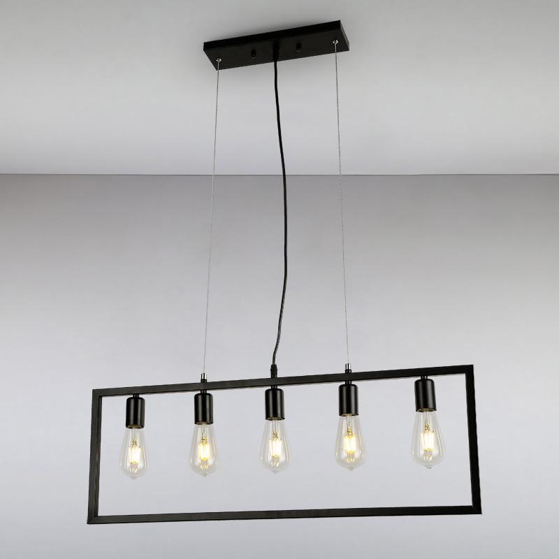 Люстра подвесная на пять  ламп LS-814648-5 BK  черная