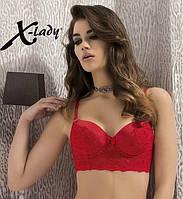 Красивейший кружевной бюстгальтер бюстье красный черный X-Lady 4017 75В 80В 85В