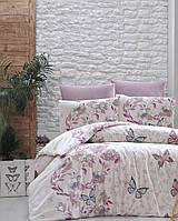 Комплект постельного белья First Choice Ranforce Kelebek Pudra Двуспальный Евро