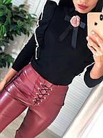 Женская кофта мелкой вязки с оборками и декором 4104820, фото 1