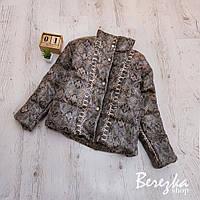 Короткая женская кожаная куртка с принтом питона 6601272Q