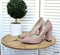 Замшевые туфли на каблуке 35-40 р пудра, фото 1