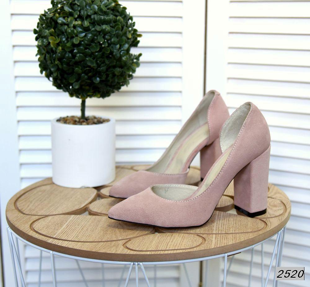 Замшевые туфли на каблуке 35-40 р пудра