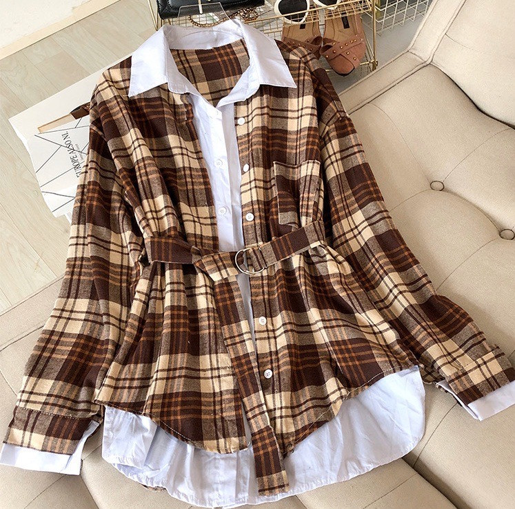 Ангоровое платье - рубашка в клетку с поясом 6803958