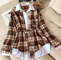 Ангоровое платье - рубашка в клетку с поясом 6803958, фото 1