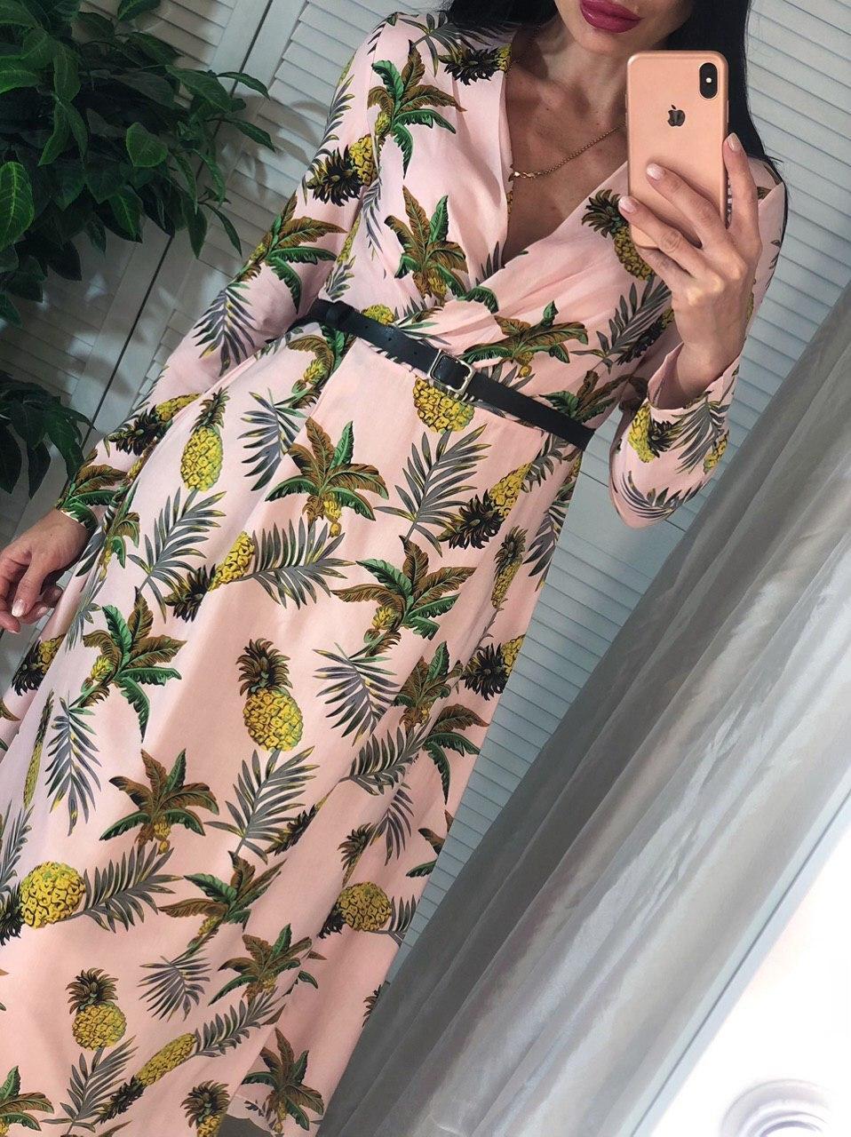Платье миди с завышенной талией и длинным рукавом 4103959