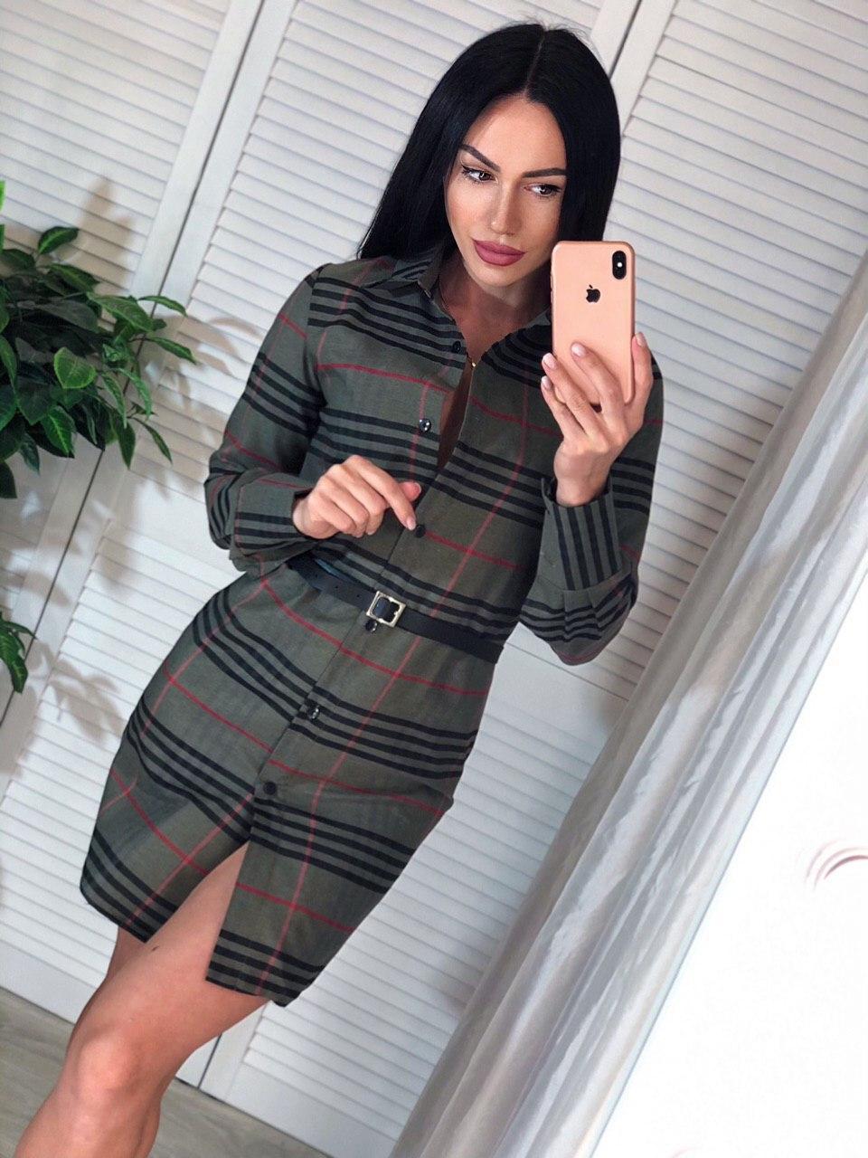 Хлопковое платье - рубашка в клетку с длинным рукавом и поясом 4103960