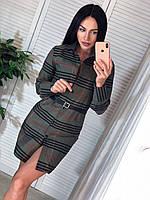 Хлопковое платье - рубашка в клетку с длинным рукавом и поясом 4103960, фото 1