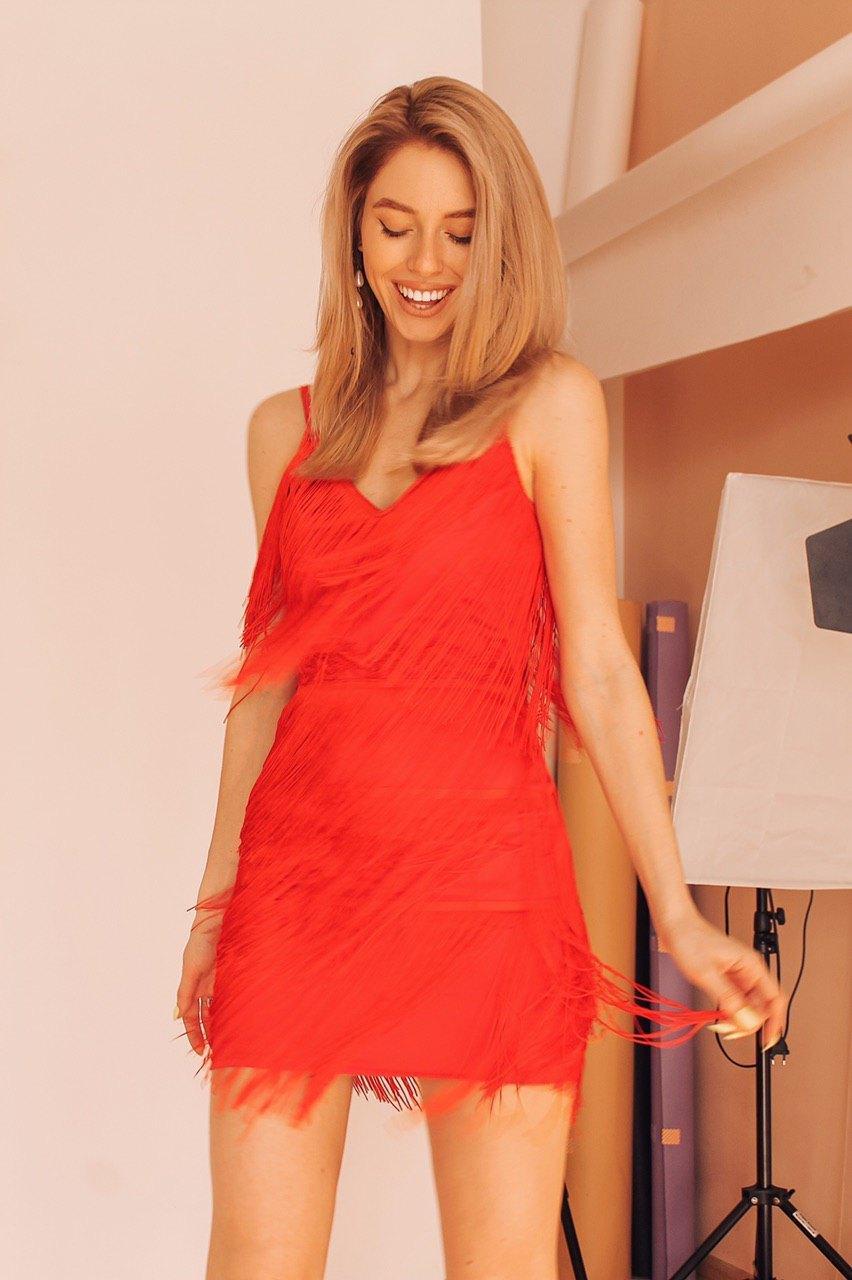 Короткое платье из шелка с бахрамой на бретельках 6003965