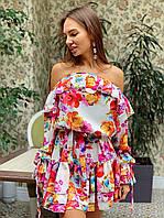 Принтованное короткое платье с открытыми плечами и воланами 3603967, фото 1