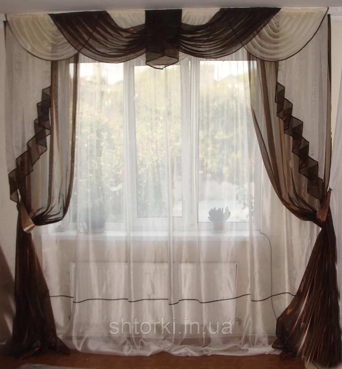 Комплект классика  Органза 2,5м, тюль шторы ламбрекен