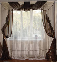 Комплект классика  Органза 2,5м, тюль шторы ламбрекен, фото 1