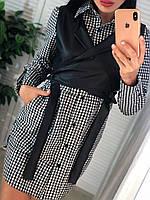 Женский комплект платье - рубашка в клетку и кожаный жилет 4110499, фото 1