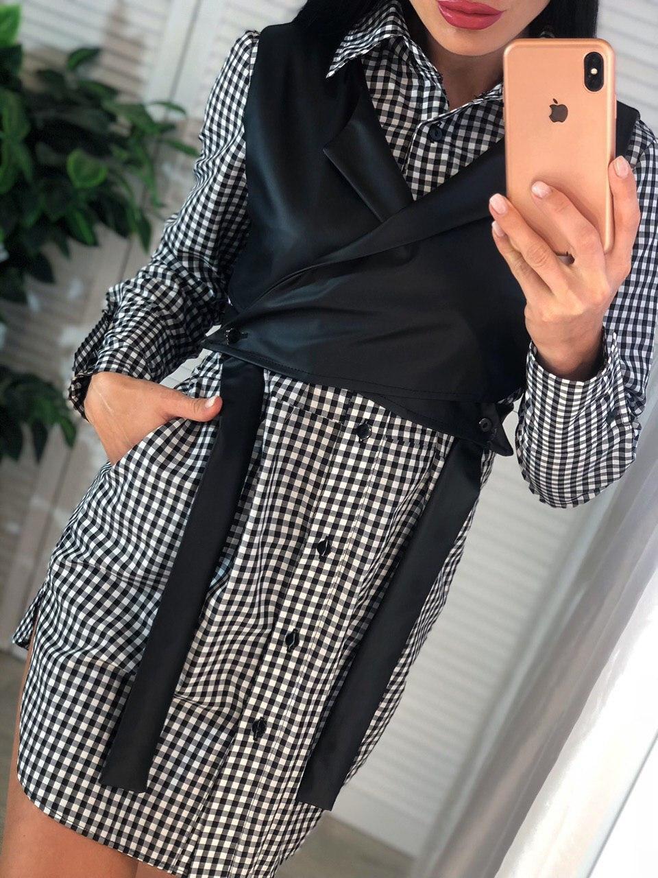 Женский комплект платье - рубашка в клетку и кожаный жилет 4110499