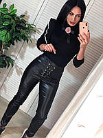 Женские кожаные лосины с молнией сзади и шунровкой спереди 4112446, фото 1