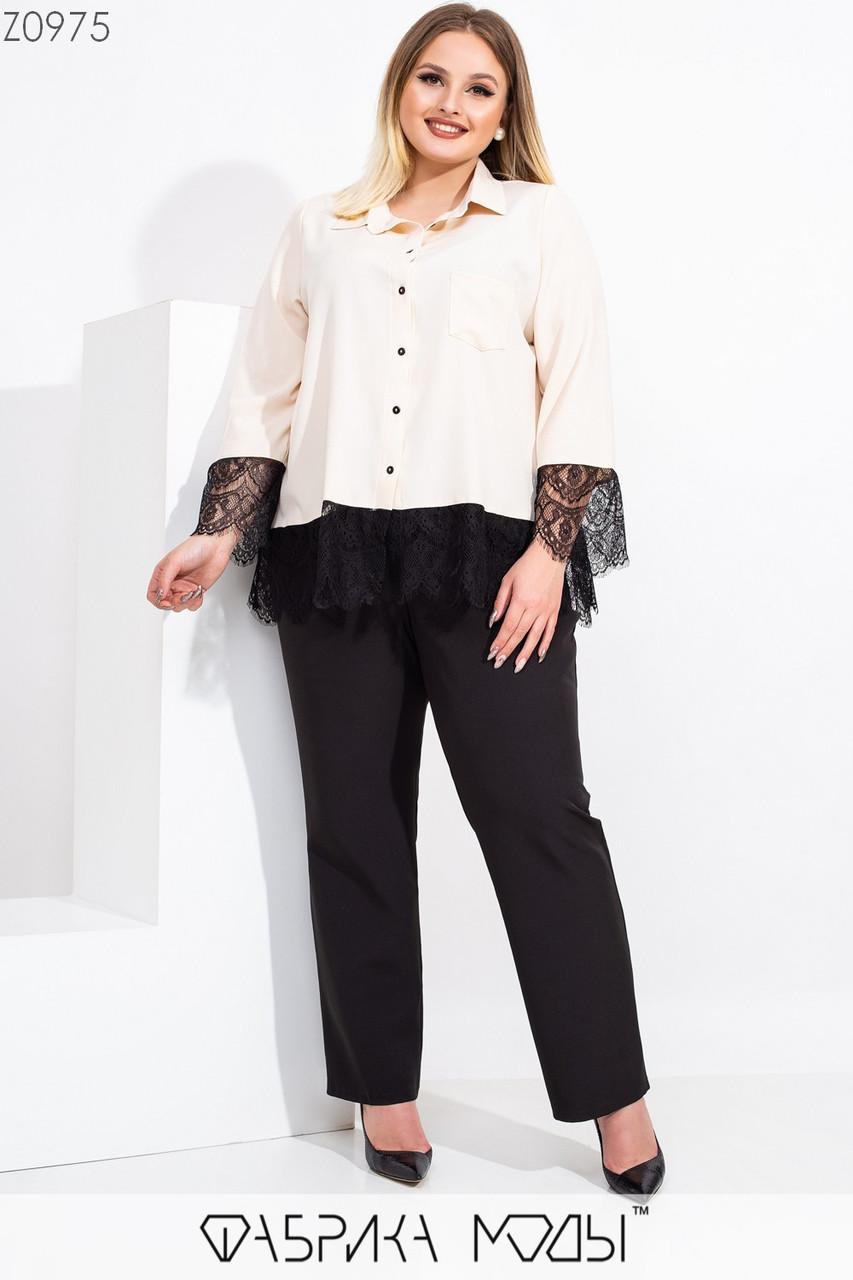 Женский брючный костюм в больших размерах со свободной удлиненной рубашкой 115538