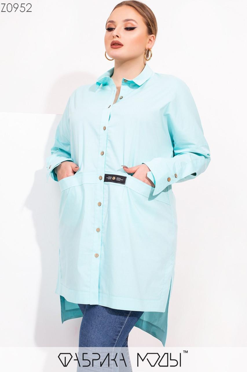 Женская удлиненная асимметричная рубашка в больших размерах с карманами 115544