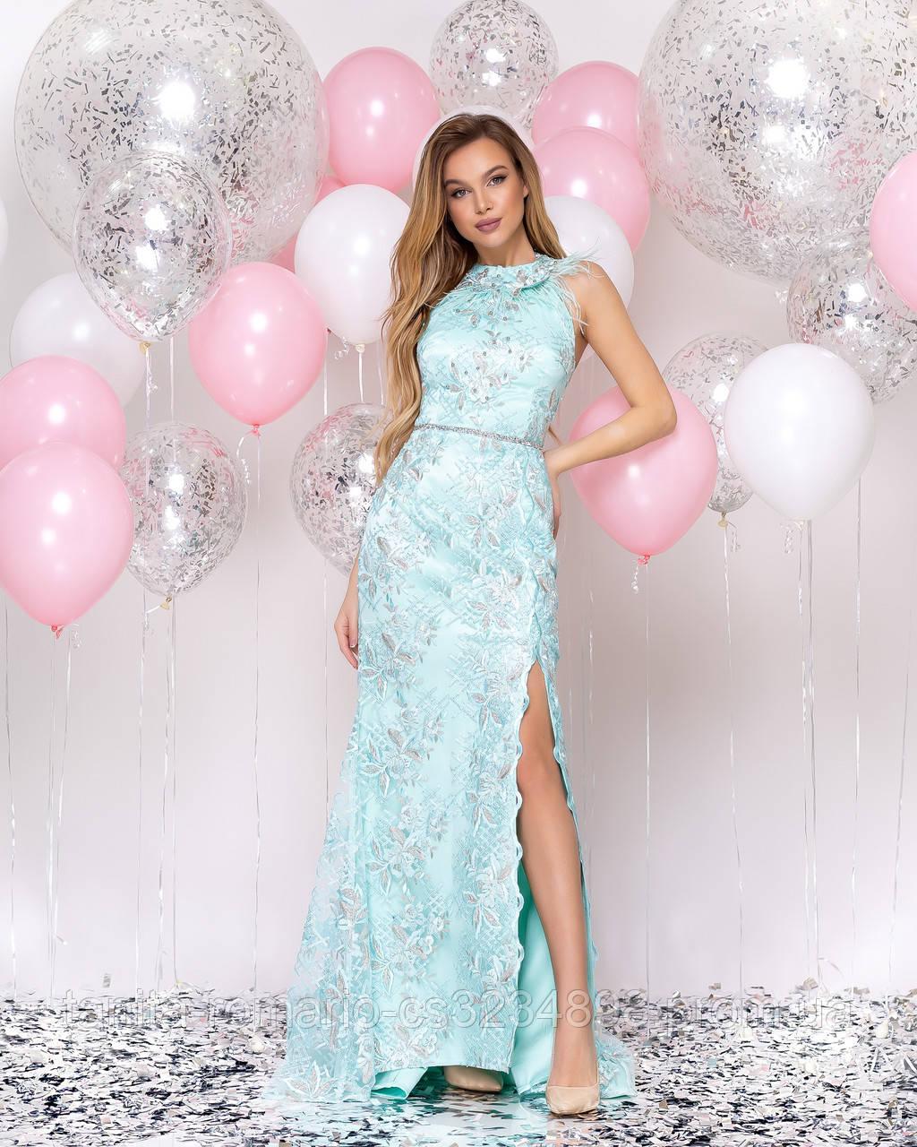 Випускна сукня годе з мереживом і пір'ям