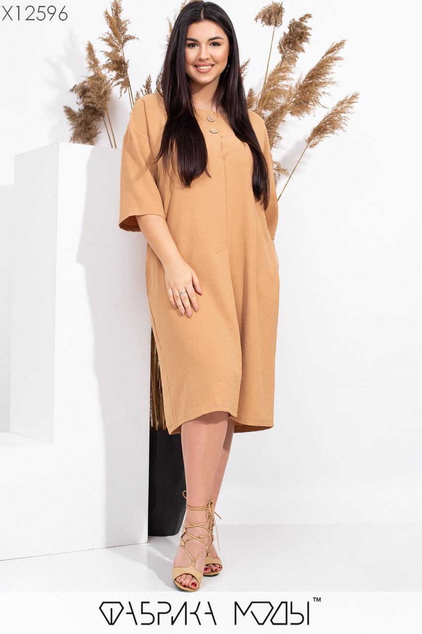 Прямое свободное платье в больших размерах с широким рукавом 3/4 115557