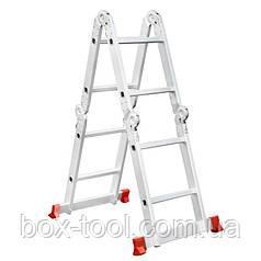 Лестница алюминиевая мультифункциональная трансформер 4*2 ступ. 2.38м INTERTOOL LT-0028