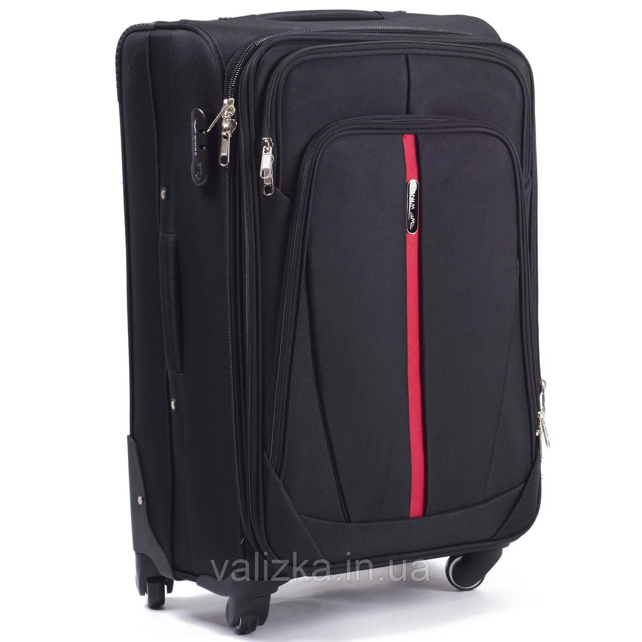 Текстильный чемодан маленький для ручной клади на 4-х колесах Wings 1706 черного цвета.