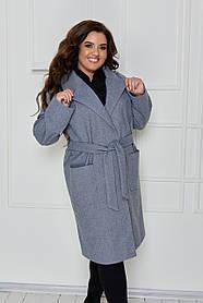 Оригинальное кашемировое пальто на запах Джинс Большого размера
