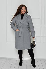 Оригинальное кашемировое пальто на запах Серый Большого размера