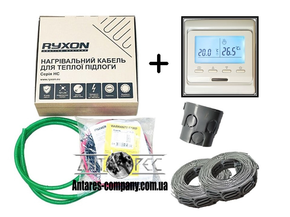 Двухжильный кабель Ryxon HC-20 обогрев (3 м2) в комплекте с програматором E-51( KIT3206)