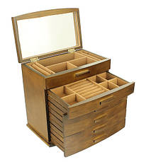 Деревянная шкатулка-органайзер Wooden Collection для украшений, 6 уровней, фото 3