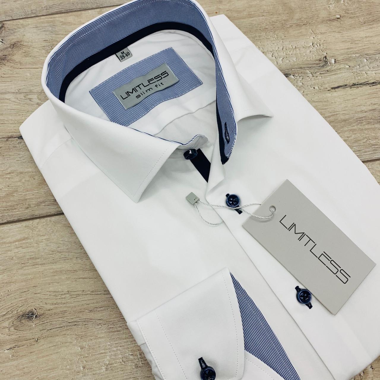 Рубашка мужская белая с синей отделкой. LIMITLESS