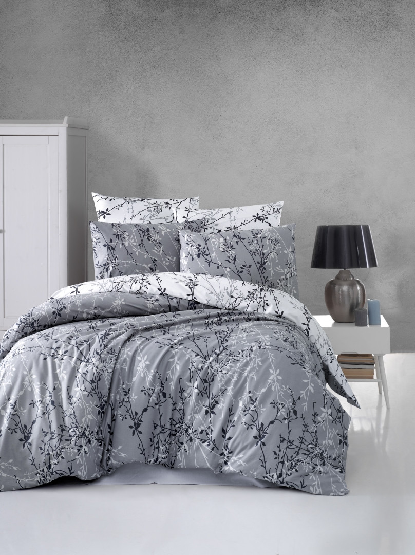 Комплект постельного белья First Choice Ranforce Zena Gri Двуспальный Евро