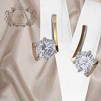 """Женские серьги из серебра 925 пробы с золотыми пластинами 375 пробы белыми фианитами """"375"""""""