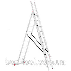 Лестница алюминиевая 3-х секционная универсальная раскладная 3x10 ступ. 6,77 м INTERTOOL LT-0310