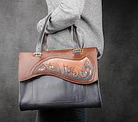 Большая синяя кожаная сумка ручной работы, кожаная сумка бохо, сумка на каждый день, фото 1