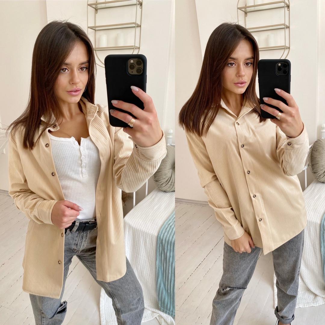 Женская стильная рубашка из ткани вельвет  размер 42-44, 46-48