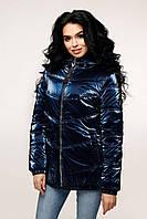 Весенняя женская блестящая синяя куртка Фольга 44-52 размер