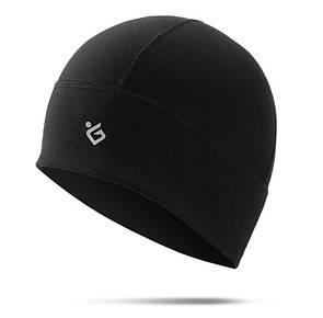 Шапка флисовая теплая Skull cap. Зимняя шапка для лыж и сноуборда черная.