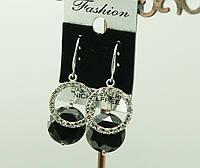 Нарядные сережки с черными кристаллами Swarovski (сваровски). 462