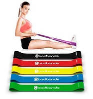 Набор лент-эспандеров резинок для фитнеса BodBands 5 шт, Набір стрічок-еспандерів гумок для фітнесу BodBands 5 шт