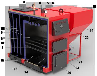 Строение котла Ретра-4М мощностью 25-150 кВт