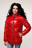 Весенняя женская блестящая красная лаковая куртка 44 46 48 50 52 54 размер