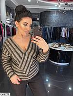 Модный женский свитер с вырезом размеры 50-56 арт 41354.1