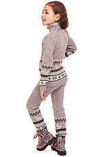 """Детские шерстяные брюки """"Олени"""" для девочки, цвет светло серый,, фото 3"""