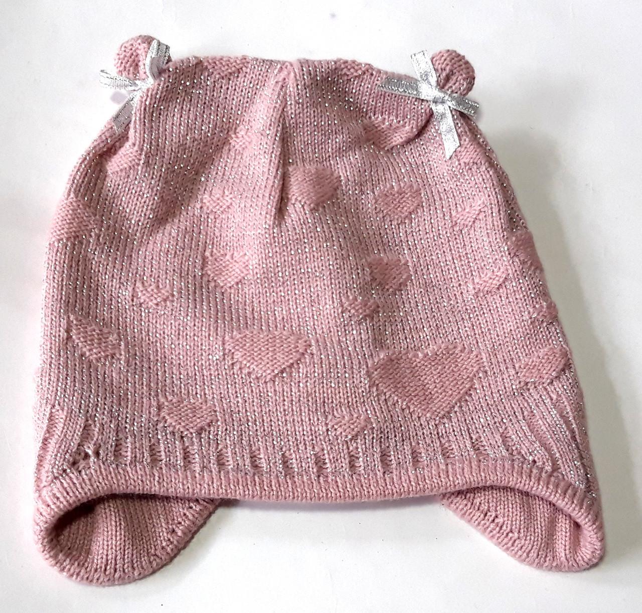 Шапка детская с люрексом 46-48 розовая