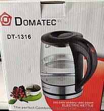 Стеклянный электрический чайник Domotec DT-1316, чайник электрический, Беспроводной электрический чайник,