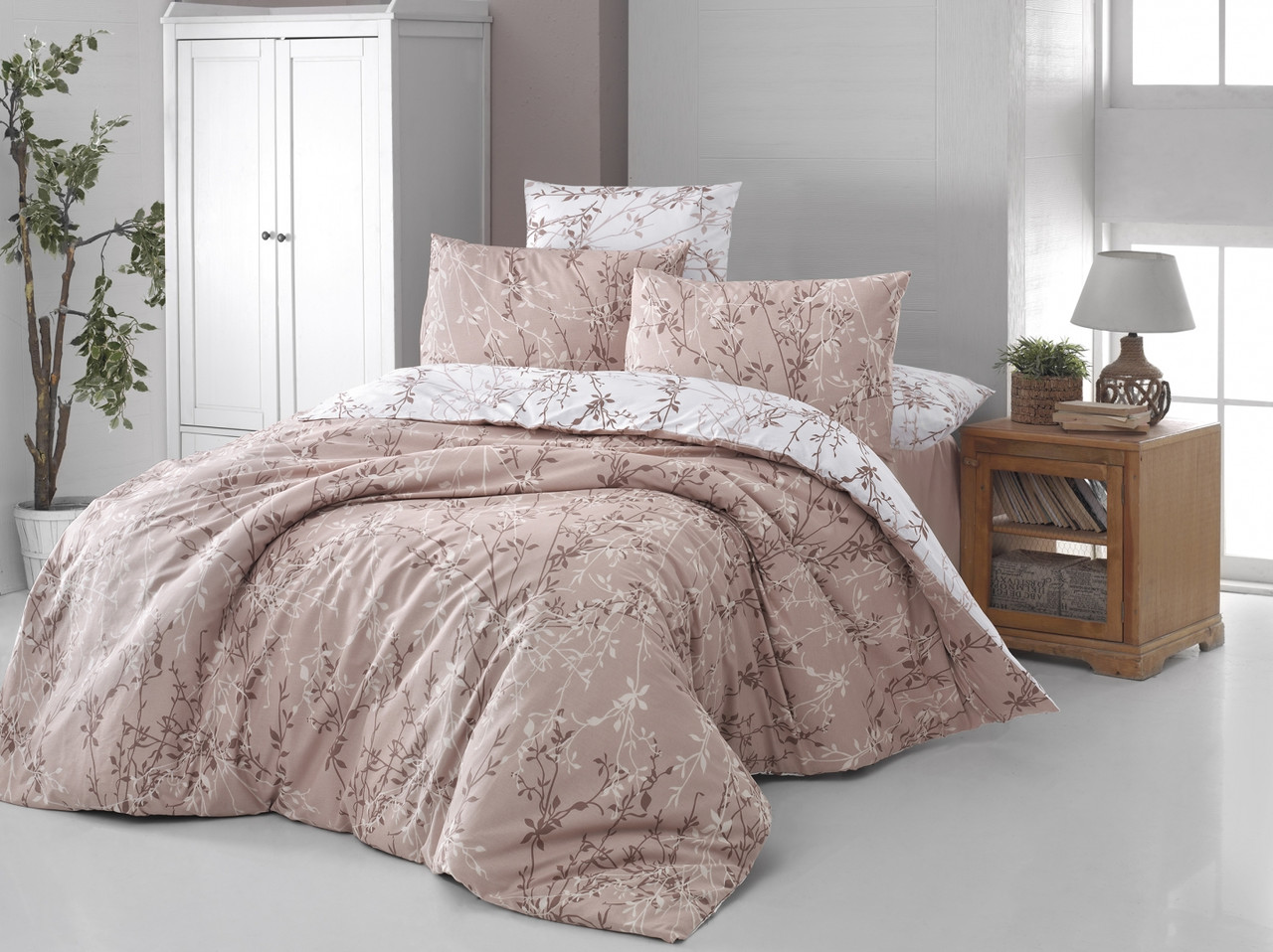 Комплект постельного белья First Choice Ranforce Zena Ekru Двуспальный Евро