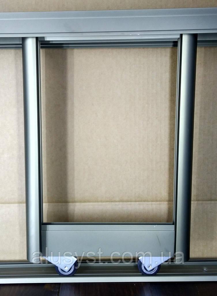 2 двери. Раздвижная система дверей шкафа купе. Шампань
