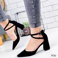 Женские  замшевые открытые туфли лодочки на каблуке с заостренным носком с переплетом черные, фото 1